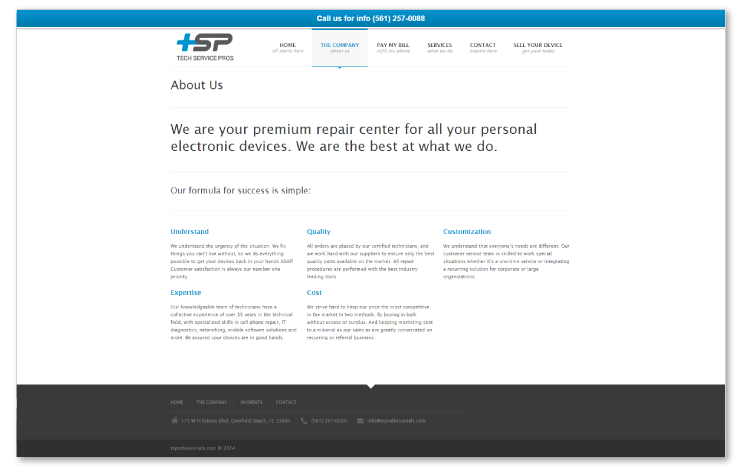 tech service pros contact page